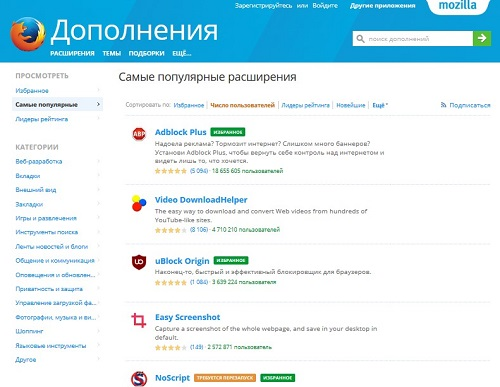 Расширения Mozilla Firefox