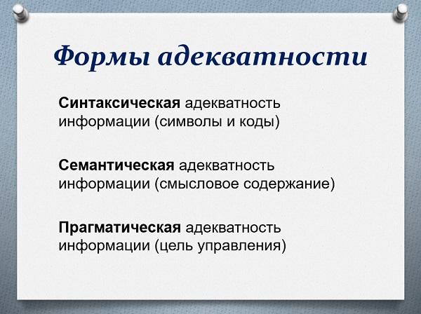 Формы адекватности информации
